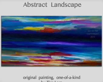 """48"""" wall art  Passion of colors  Original Huge Surreal Abstract Impasto Texture Oil painting by Tim Lam"""