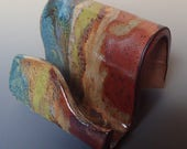 Business Card Holder Cellphone Holder in Copper, Green and Blue