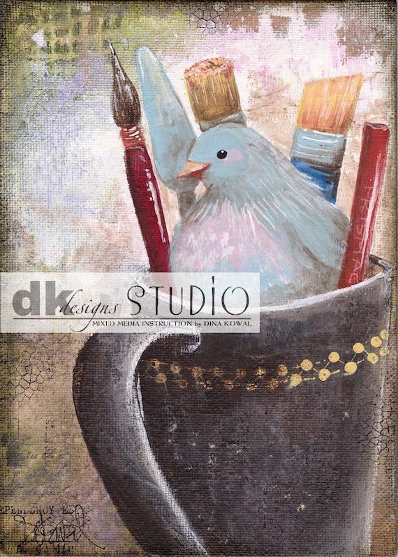 "She Paints - original acrylic 5"" x 7"" canvas panel"