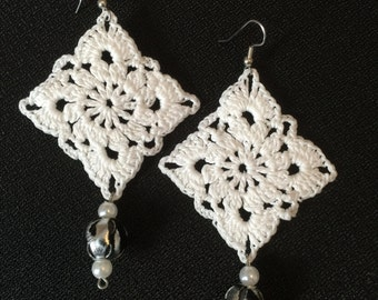 Handmade White Beaded Earrings - Crochet and Tatting Jewelry - Ready to ship