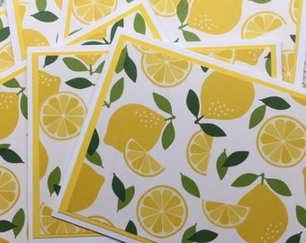 Lemons - Blank Notecards Set of 6 - Thank You, Invitations