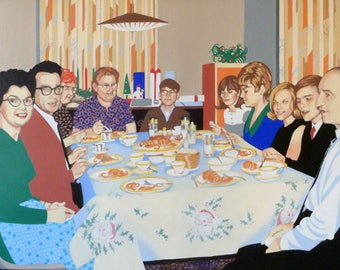 Christmas dinner in 1967. a 30 x 40 painting.