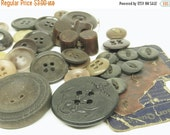 HALF OFF 35 Brown Vintage Buttons Plastic, Wood, Bakelite, Shell