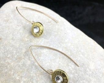 Bullet Earrings, 14K Gold Filled Marquis Drop Bullet Earrings, Custom Earrings, Crystal Earrings, Bullet Jewelry, 14K Gold Earrings