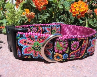 "Dog Collar 1"" wide Quick Release buckle adjustable Paisley Bright - no martingale limited ribbon - see description details for sizing"