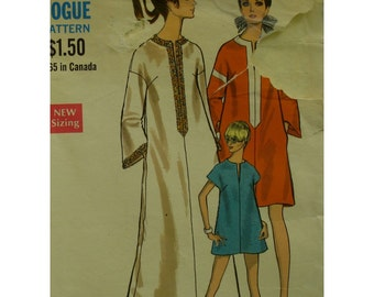 "Caftan Pattern, 70s, Beach Cover-up, Front Neck Slit, Bell /Cap Sleeves, Long/Short, Side Pockets, Vogue No. 7360 Size 10 (Bust 32.5"" 83cm))"