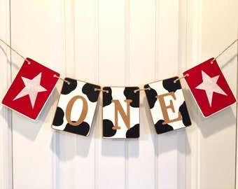 Western ONE banner, birthday banner, high chair banner, cow pattern garland, western birthday, country glitter star, smash cake banner