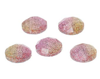 6 Resin Pink and Yellow Glitter Dome 12mm