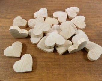 "Wood Hearts Domed 7/8"" W x 7/8"" H x 1/4"" - 21 Pieces (2 Pieces Domed Both Sides)"