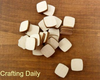 """Wood Stud Earring Squares Rounded Blanks 1/2"""" (12mm) x 1/8"""" (3.175mm) Thick Laser Cut Wood Jewelry Shapes - 25 Pieces"""