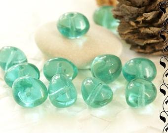 20 Czech Glass Nugget Beads 6x8 mm Aquamarine