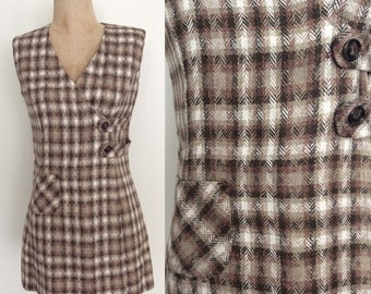 1970's Brown Plaid Mod Mini Wrap Dress Size Small Medium by Maeberry Vintage