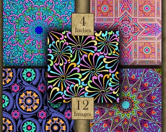 BRIGHT DESIGNS 4 inch squares - 12 Digital Printable Images for Coasters & Crafts