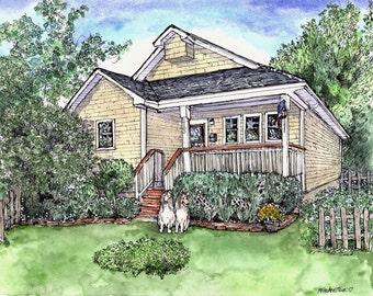House Portrait ,Watercolor,Pen and Ink, Original Custom Home Portrait,Hand Painted,Mothers' Day,Anniversary,Moving Gift,Patty Fleckenstein