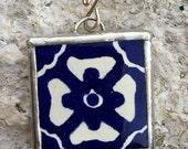 Talavera Mexican Tile Jewelry Pendant OOAK