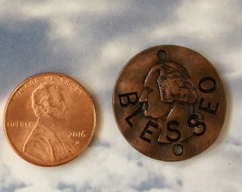 Blessed Pendant Pewter Round Disc Antiqued Copper Hammered