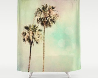 Shower Curtain, Palm Trees, Home Decor, Beach, Beach House, Mint Green