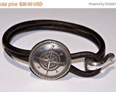 Sale Compass Distressed Brown Leather Bracelet - Mens - Womens - Hammered Silver - Traveler - Free Spirit