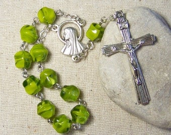 handmade Catholic pocket rosary tenner with chartreuse green givre glass beads in silver