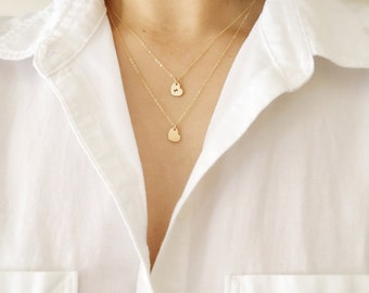 Layered Initial Necklace,Layered Gold Necklace,Double Strand Necklace,Double Layer Necklace,Tiny Gold Heart Necklace,Double Heart Necklace