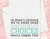 Best Friends Card - Card for Her - Funny Friends Card - Funny Card for Her - Card for Friend - Birthday Card for Her - Wine Birthday Card