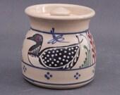 Multicolor Loon on Stoneware Sugar Bowl