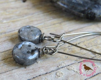 Black Moonstone Earrings, Wire Wrap, Boho Chic Earrings, Gunmetal Moonstone Dangle Earrings, Larvikite,  Gunmetal by MagpieMadness for Etsy