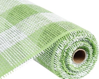20% OFF 21 Inch Green White Check Paper Mesh Roll CR051-27 / CR051-29