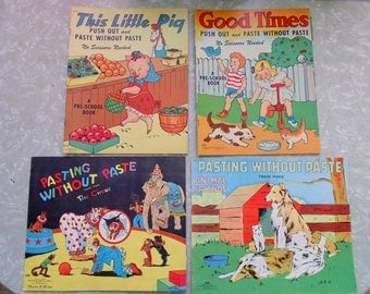 Childrens Book. SAALFIELD. 4 pc. Childrens Books. Coloring Book. Animals. Circus. Good Times. This Little Pig. vintage. 1930s. 1940s
