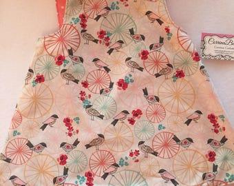 little Girls summer pinafore birds and flowers
