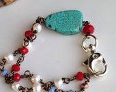 MARCH MADNESS SALE Beaded Bracelet, Freshwater Pearls, Blue Glass Beads, Red Cherry Quartz Beads, Slab Turquoise, Boho Bracelet, Southwest,