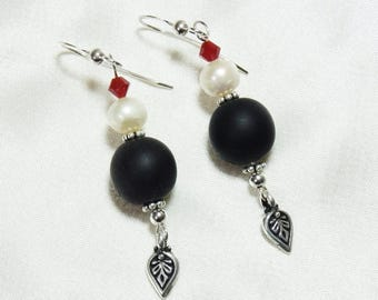 Matte Black Glass Earrings with Freshwater Pearls and Red Swarovski Crystal
