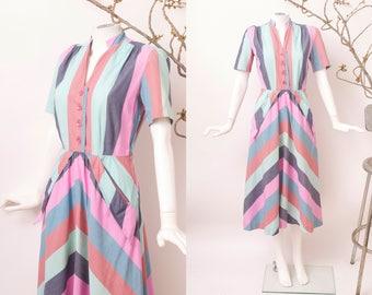 1950s Cotton Dress / 50s Striped Summer Dress