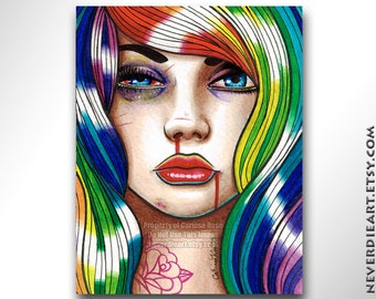 Limited Edition 14 out of 25 8x10 in Art Print - Hard Candy 3 - Rainbow Punk Girl
