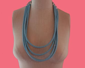 Barrett Blue Vinyl Necklace Long Length