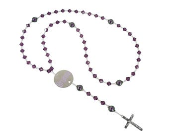 Purple Amethyst Customizable Rosary with Name - choose color selections - for all ages, boys and girls- Catholic Prayer Beads