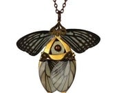 CHRISTMAS SALE 25% OFF / Rusalka / Gold Butterfly Necklace with Secret Blades / Free Shipping