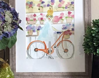 Tiffani on a bicycle- Fashion Illustration, Bicycle Art, Fashion Art Print, Bicycle Wall Art, Quirky Art, Illustration by LeMahogany Art