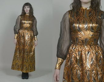 60s Party Dress Orange Black Metallic Gold Brocade Maxi Sheer Balloon Sleeves 1960s Hippie Mod / Size XS Extra Small