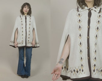 Sweater Cape 60s Poncho Cream Knit Folk Art Brown 1960s Hippie Boho Button Up  / OS One Size Fits Most
