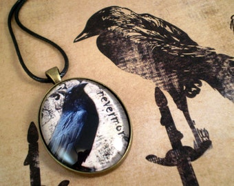 Raven Necklace, Handmade Jewelry, Goth Necklace, Raven Crow Pendant, Gift for Her