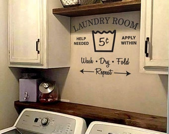 Vinyl Wall Decal -  Laundry Room - Wash Dry Fold Repeat (KLB21)