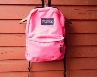 Vtg Jansport Neon Hot Pink Hiking Traveling Carry On Backpack