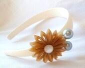 Gold Kanzashi Flower Headband with Aqua Berries