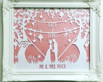 Personalised wedding and anniversary paper cut love couple framed art