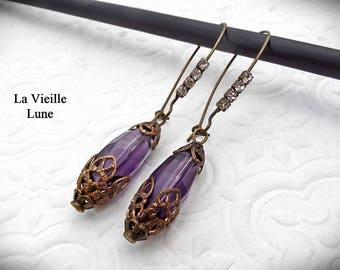 Amethyst Victorian Earrings, Purple Drop Earrings, Gothic Earrings in Antique Brass,  Victorian Jewelry