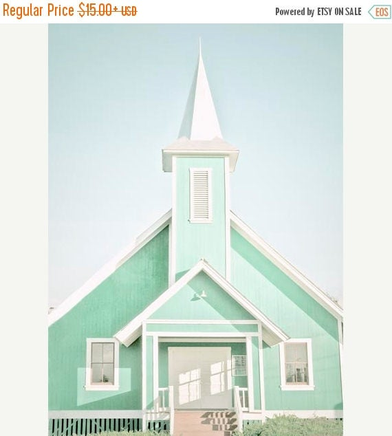 """SALE Church Photography , Mint Wall Decor, Bright Pastel, Architecture, Spring Wall Decor ,Church Decor, """"Heres The Church Heres The Steeple"""