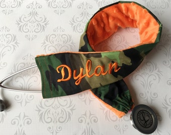 Embroidered Stethoscope Cover, Stethoscope ID Tag, RN, Nurse,  Doctor, Medical Assistant, Nurse Gift, Name Tag - Camo with Orange