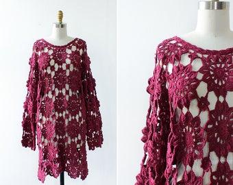 Purple Crochet Dress • Vintage Dress • 90s Dress • Loose Dress • Boho Crochet Dress • Layered Dress • Knee Length Dress | D1201