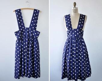 Jumper Dress • Navy Polka Dot Dress • 80s Dress with Pockets • Silky Dress • Flowy Dress • Flared Dress • Spring Dress | D1136